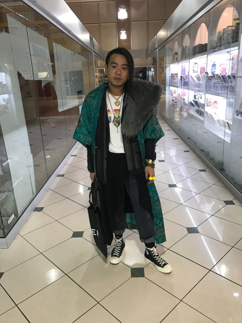 WHAT IM WEARING: GAP GAP PRIDE T SHIRT CALVIN CLIEN TECH JACKET UNIQLO THERMAL JACKET JAPANES KIMONO GIFT DENIM TRISTAN FUN FUR VINTAGE SHOES COMMES DES GARCONS BAG UBER BAG MACKAGE